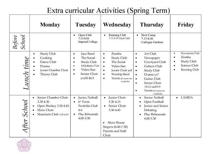 Extra Curricular Activities Spring 14